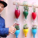 Colorful Garden from Plastic Bottles, Cute Vertical Garden Ideas