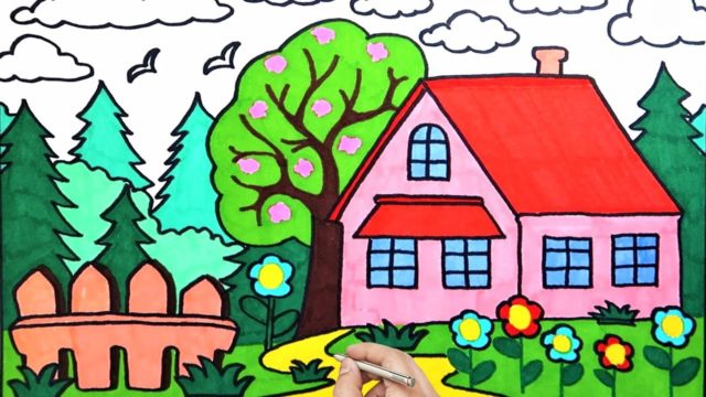 How To Draw House Garden Sky Flowers Easy | Coloring Pages For Kids | Art Lessons For Kids