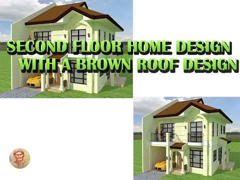 second floor home design with brown roof design
