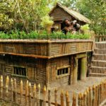 Build The Most Beautiful Garden On The Top Roof Around Wooden Villa