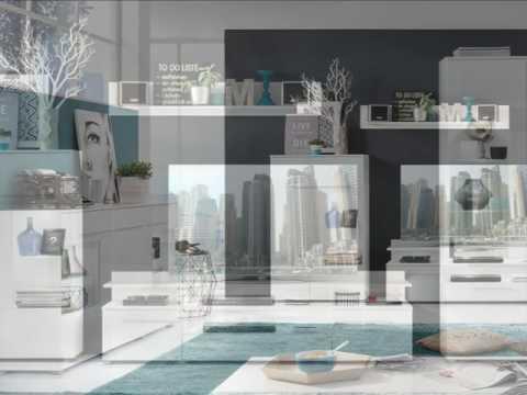 Wohnwand Highboard und Sideboard Vision Hochglanz weiß inkl. LED Beleuchtung