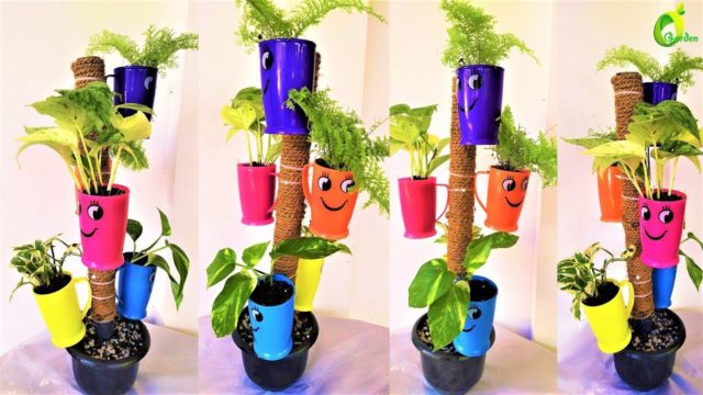 vertical cup garden/tower planter/smile cups ideas/ORGANIC GARDEN