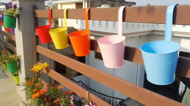 Home Garden | Railing Plant Teaser | Garden Decor | Tin Planters | Tin Pots | Nursery Items