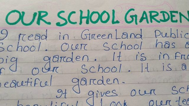 Essay about our  school garden,, very easy and simple words..