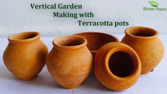 Vertical Garden Using Terracotta pots | Vertical Garden Making at Home//GREEN PLANTS