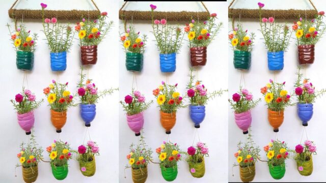 Amazing Vertical Garden Using Plastic Bottles/Portulaca /Moss Rose/Garden On Wall/ORGANIC GARDEN