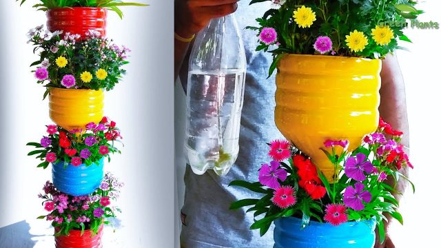 Recycle Plastic Bottles into Beautiful Flower Garden Tower | Tower Garden Flower Pots//GREEN PLANTS