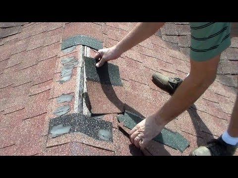 Small Asphalt Shingles Ridge Cap Roofing Repair – Terminating Ridge Shingles