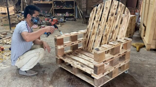 Amazing Design Ideas Woodworking Project Cheap From Pallet – Build A Outdoor Chair From Old Pallets