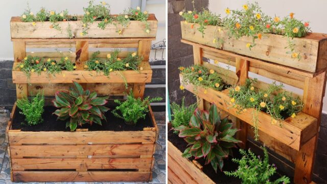 Creative way to Upcycle Pallets into flower planter box | DIY Garden ideas
