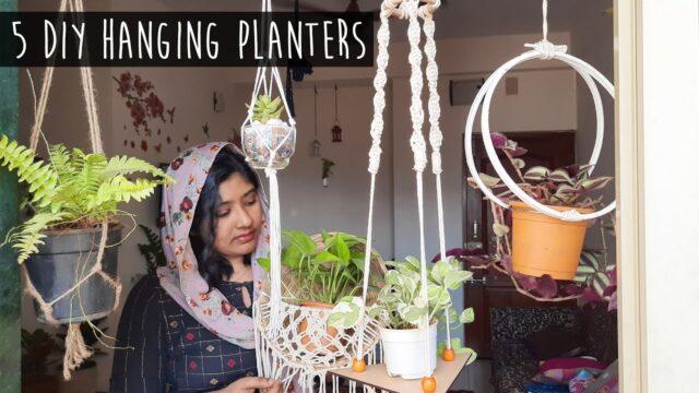 DIY 5 Hanging Planters   അടിപൊളി ഹാങ്ങിങ് പ്ലാന്റേഴ്സ് ഉണ്ടാക്കാം    Home Decor using Indoor plants