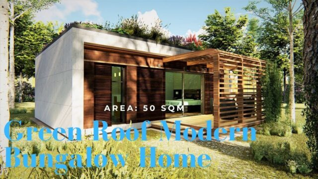 Green Roof Modern Bungalow Home/ Area: 50 sqm/ Casa house.