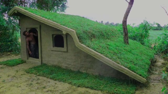 Build Roof Grass House ( Using Mud & Grass)