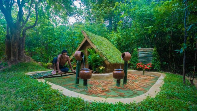 Building Grass Roof Mud House and Fishes Tank For Red Fishes