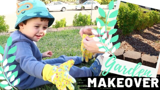 Toddler helps with our Garden Makeover | Cute Gardening Gloves for Kids | Raw Family Vlog
