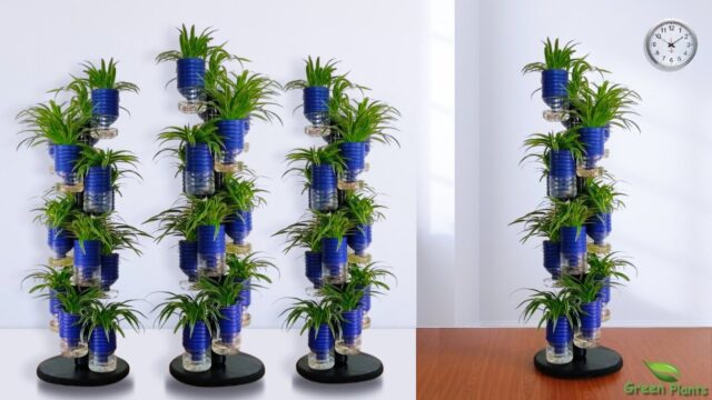 Self Watering System for Plants Using Plastic Bottle | Auto Watering Vertical Garden//GREEN PLANTS
