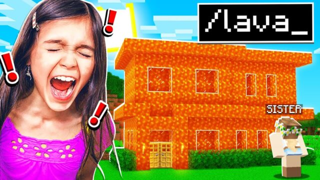 TROLLING MY LITTLE SISTER with HACKS in Minecraft!