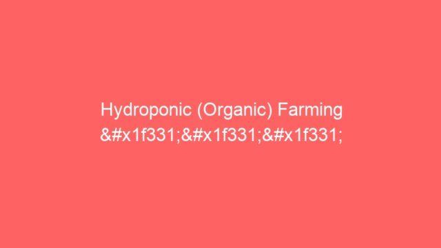 Hydroponic (Organic) Farming 🌱🌱🌱