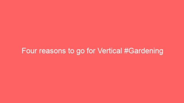 Four reasons to go for Vertical #Gardening