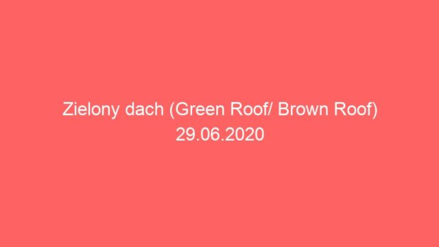 Zielony dach (Green Roof/ Brown Roof) 29.06.2020