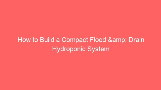 How to Build a Compact Flood & Drain Hydroponic System