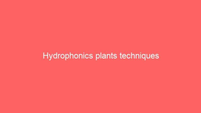 Hydrophonics plants techniques