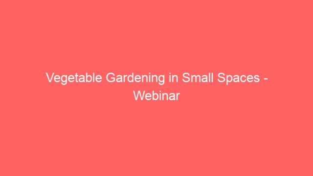 Vegetable Gardening in Small Spaces – Webinar