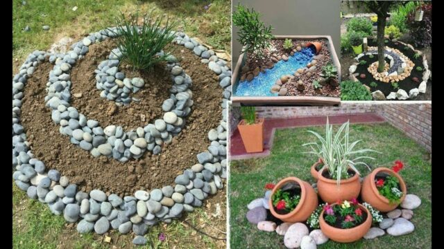 Garden decorations with stone || School garden home garden