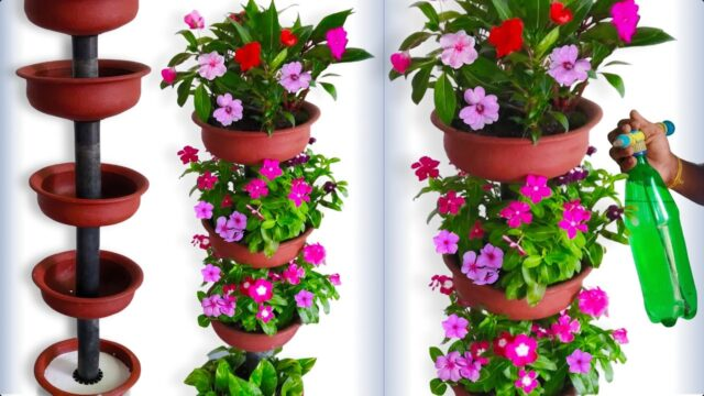 Beautiful Flower Garden Tower Using Terracotta Pots For Your Small  Home Garden//GREEN PLANTS