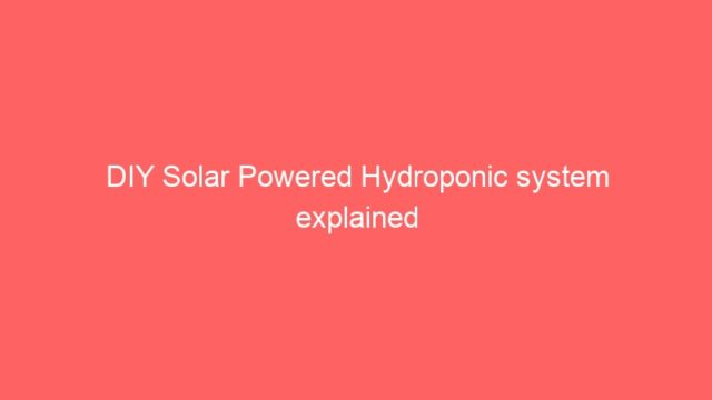 DIY Solar Powered Hydroponic system explained