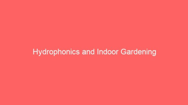 Hydrophonics and Indoor Gardening