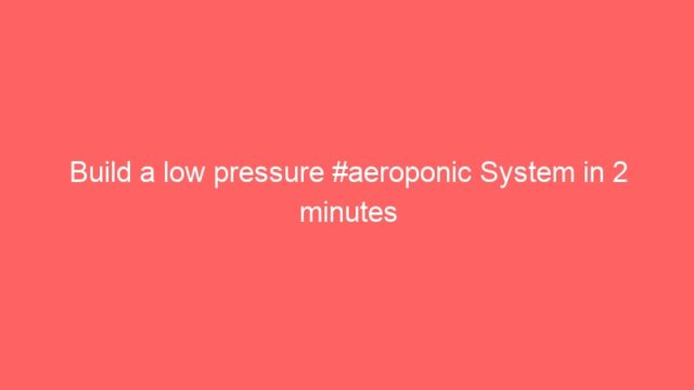 Build a low pressure #aeroponic System in 2 minutes