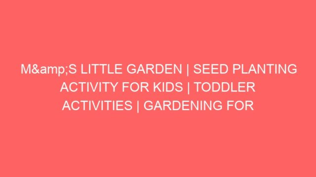 M&S LITTLE GARDEN | SEED PLANTING ACTIVITY FOR KIDS | TODDLER ACTIVITIES | GARDENING FOR BEGINNERS