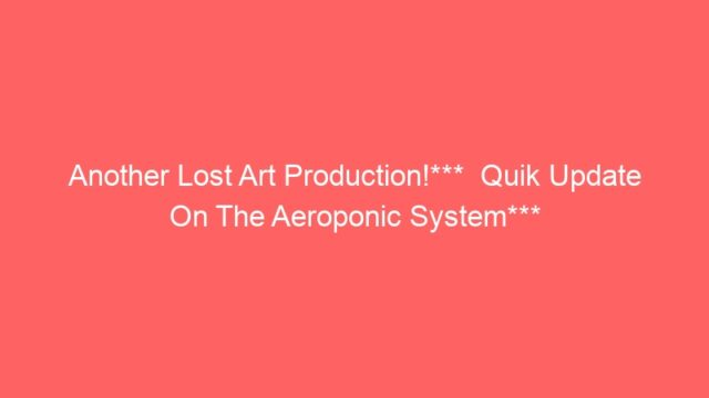 Another Lost Art Production!***  Quik Update On The Aeroponic System***
