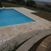 Aged limestone style flooring