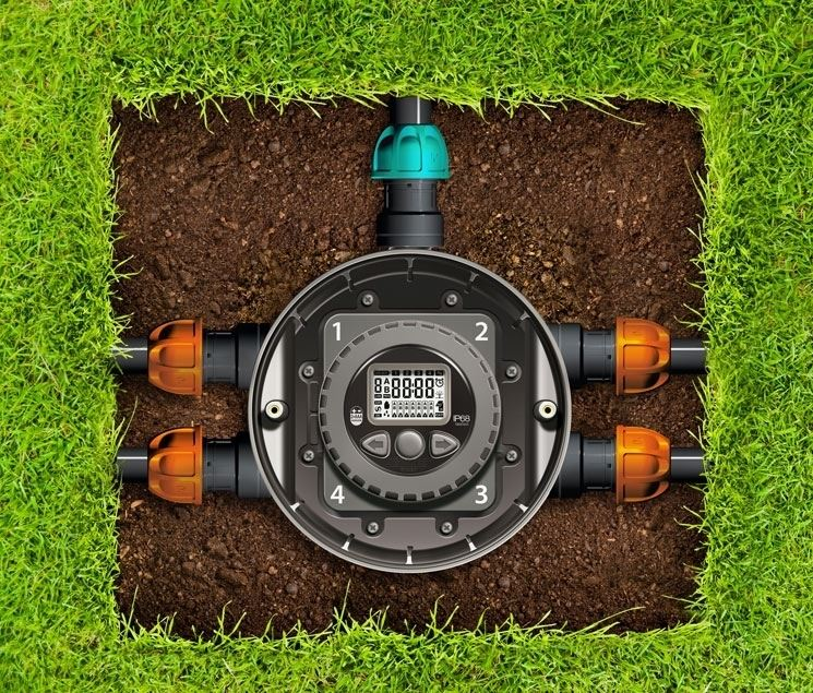 """<em> hydro 4 </em> claber programmer"""" width=""""745″ height=""""635″ longdesc=""""/arredo-giardino/irrigazione/l-irrigazione-su-misura-per-tutti-con-un-unico-sistema-hydro-4.asp""""/> With only 3 buttons and a large display, the Hydro-4 programmer allows you to set 2 different irrigation programs for each of the 4 irrigation lines: in this way you can decide the duration and time of watering, automatically programming them at the times best, that is, early in the morning or in the evening, avoiding water waste due to evaporation under the sun's rays, especially in the hottest months of the year.  For each program it is possible to set an irrigation time from 1 to 60 minutes, with the possible exclusion of certain days of the week.  The programs can be viewed at any time on the display and, if necessary, modified or deleted.  The manual irrigation function is very convenient, to check the operation of the irrigation system or to distribute an extra """"sprinkle"""" in case of need.  The Hydro-4 programmer can also be connected wirelessly to the Rain Sensor, which interrupts the program in the event of atmospheric precipitation and restarts it when the sun returns: so you don't waste water unnecessarily, especially when you is away from home because at work or on vacation.</p> <p> <img loading="""