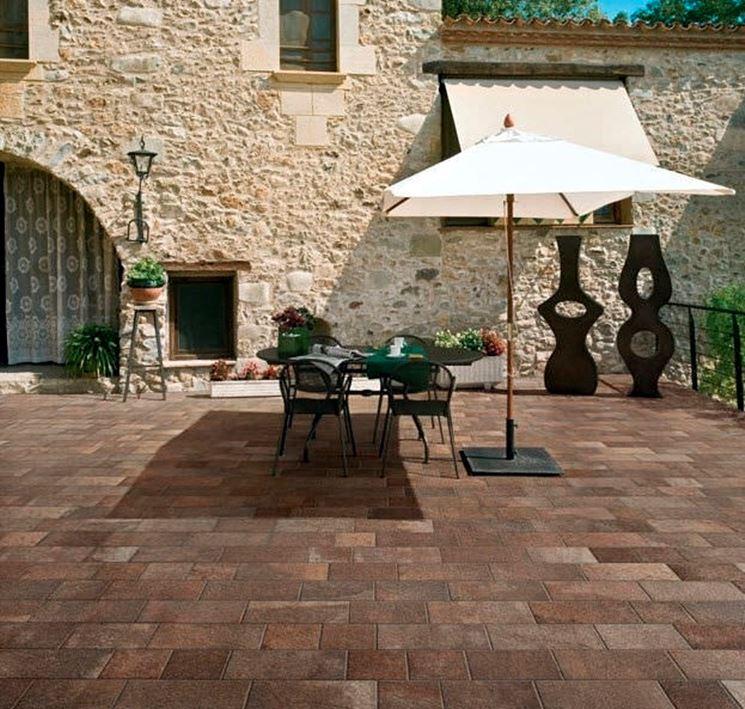 Brick-colored stone