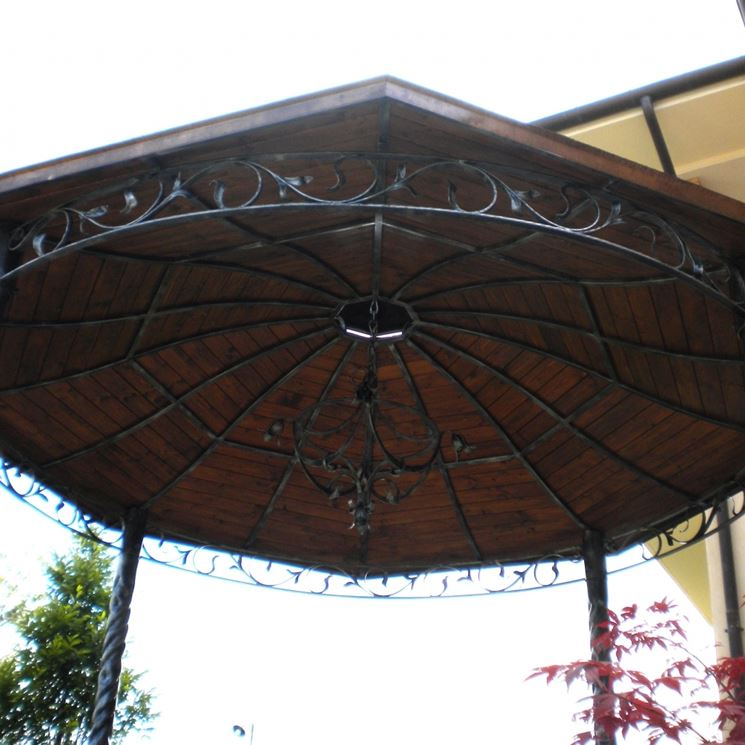 iron canopy covered in wood