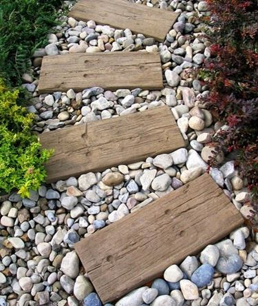 Driveway with wooden planks