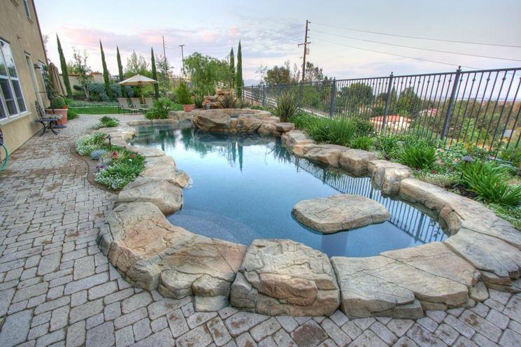 Stone flooring for swimming pool