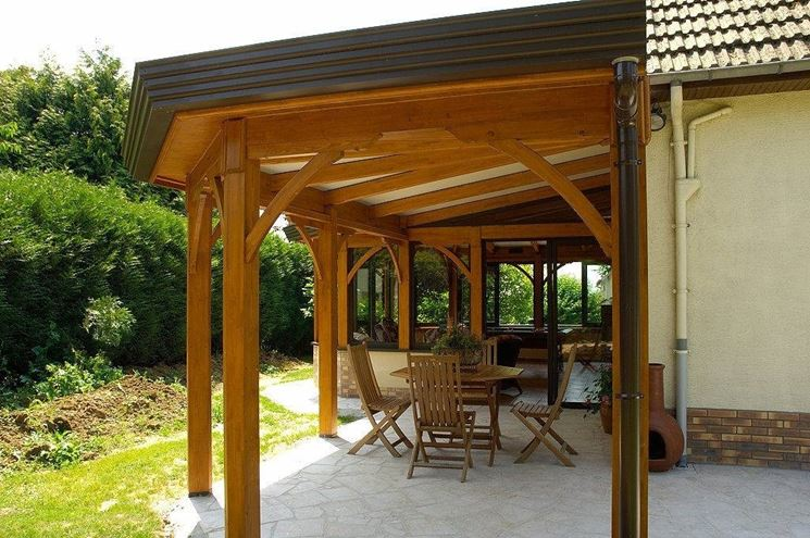 Roofing for terraces in wood