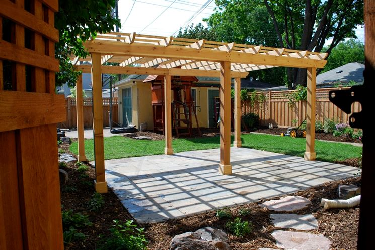 DIY wooden pergola with post holder