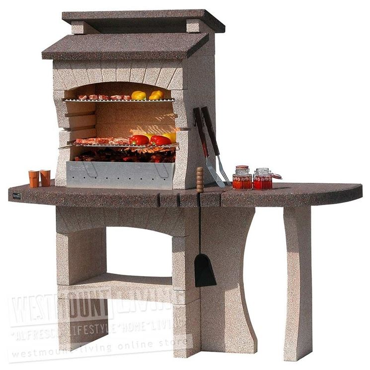 A pre-assembled barbecue with table