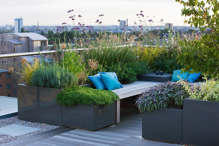 modern terrace planters