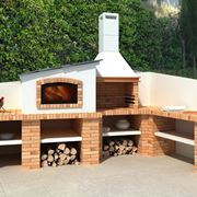 Comfortable and modern brick barbecue with various support bases and compartments
