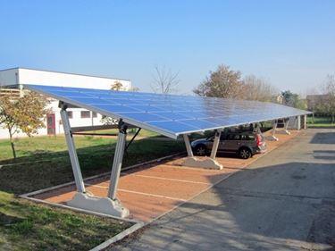 Aluminum photovoltaic canopies.