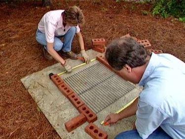 Masonry barbecue under construction